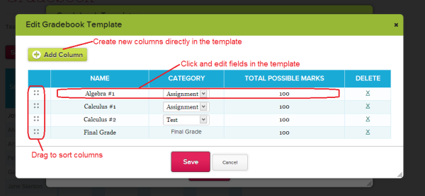 Editing Gradebook Templates