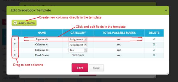 Editing Gradebook Templates