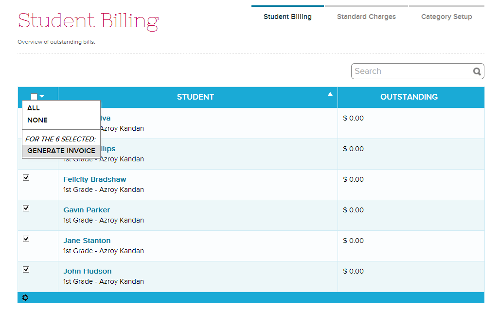 mass generate invoice school management student information