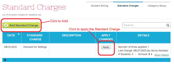 List of Standard Charges