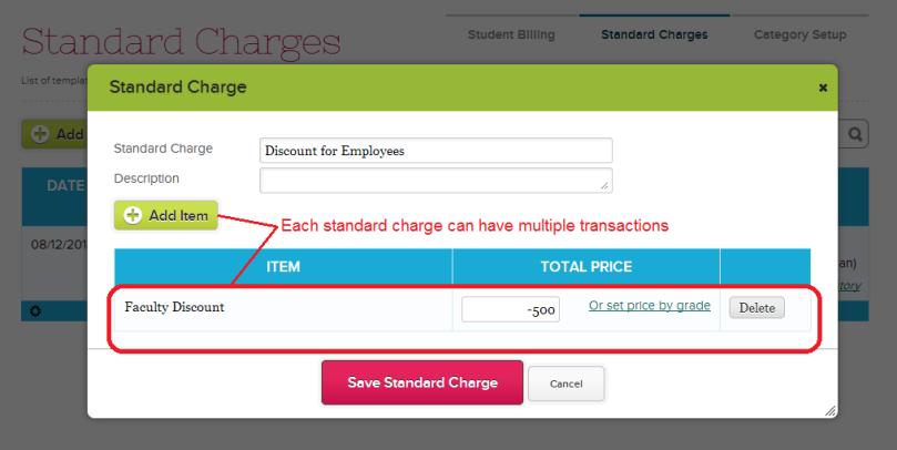 Adding / Modifying a Standard Charge
