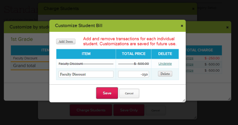 Customize Charges by Student