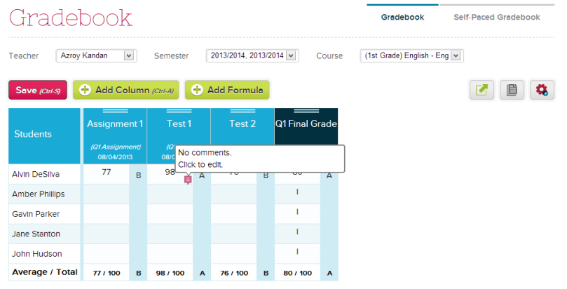 Gradebook Comments in QuickSchools