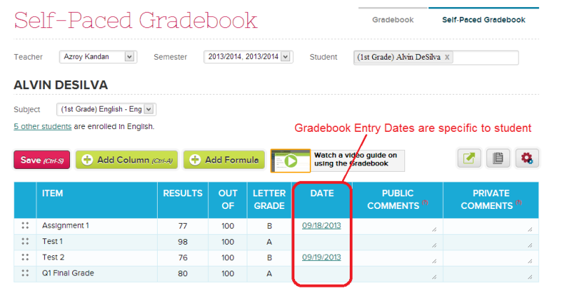 Self-Paced Gradebook