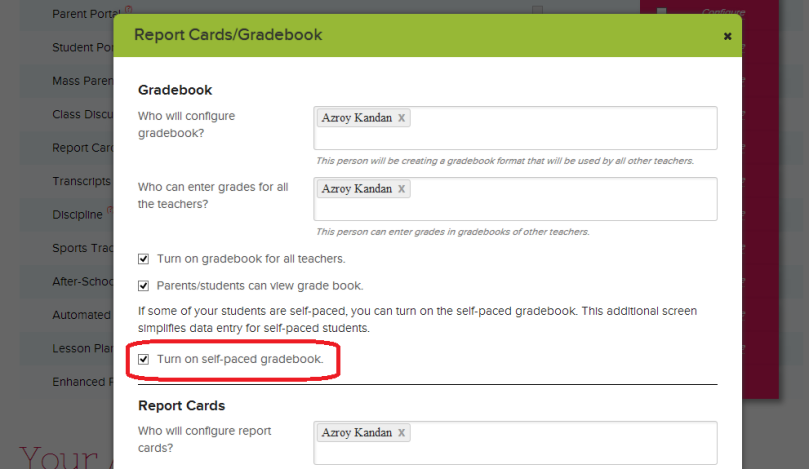 Turning On the Self-Paced Gradebook