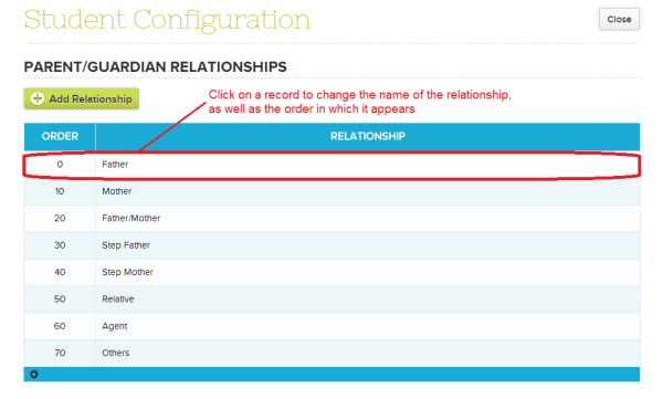 Configure Parent/Guardian Relationship Names on QuickSchools