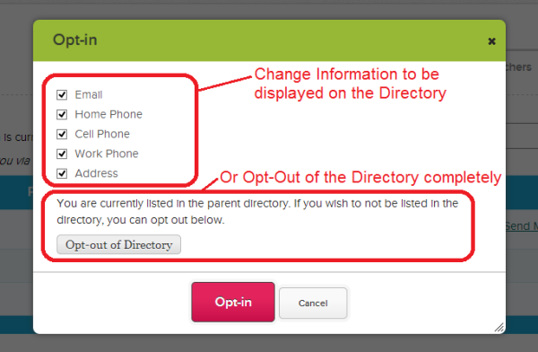 Setting Directory Preferences or Opting In/Out