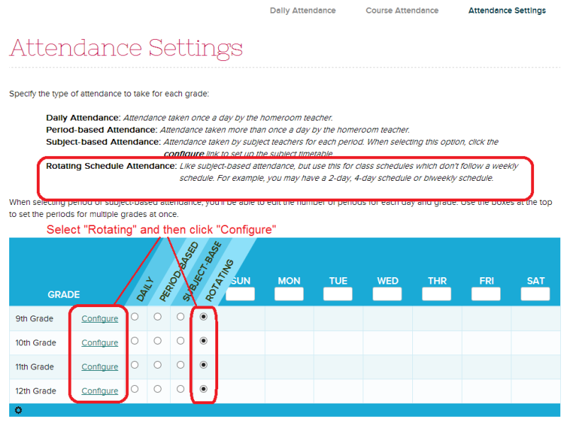 Attendance Settings with Rotating Schedule