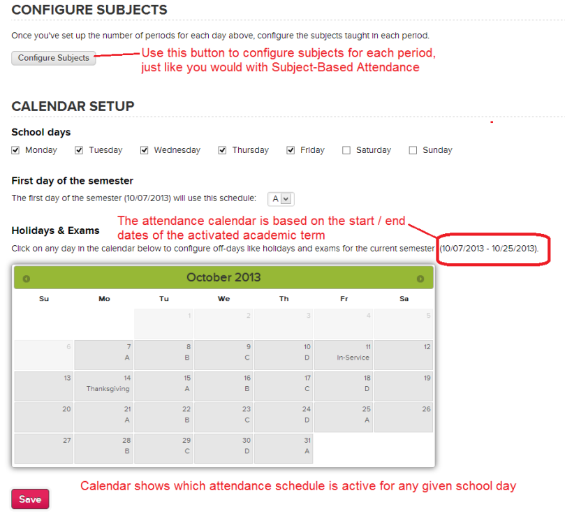 Configuring Subjects and the Attendance Calendar