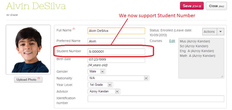 QuickSchools Student ID Number