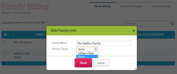 New Fee Tracking Family Designation