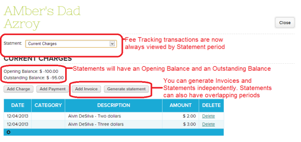 New QuickSchools Fee Tracking