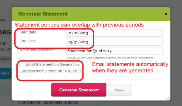 QuickSchools Fee Tracking: Generating a Statement