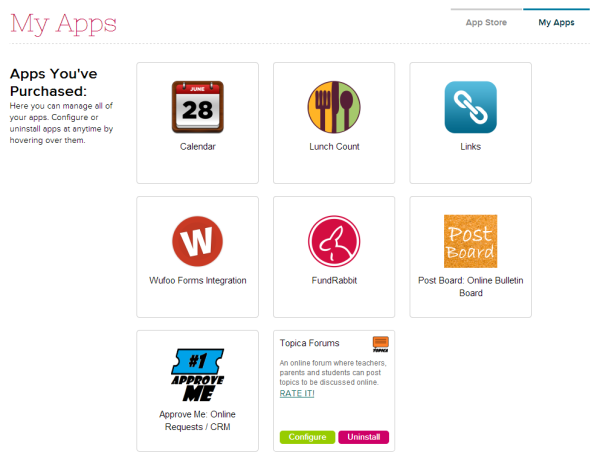 My Apps on QuickSchools App Store