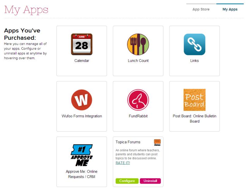 My Apps on QuickSchools App Store