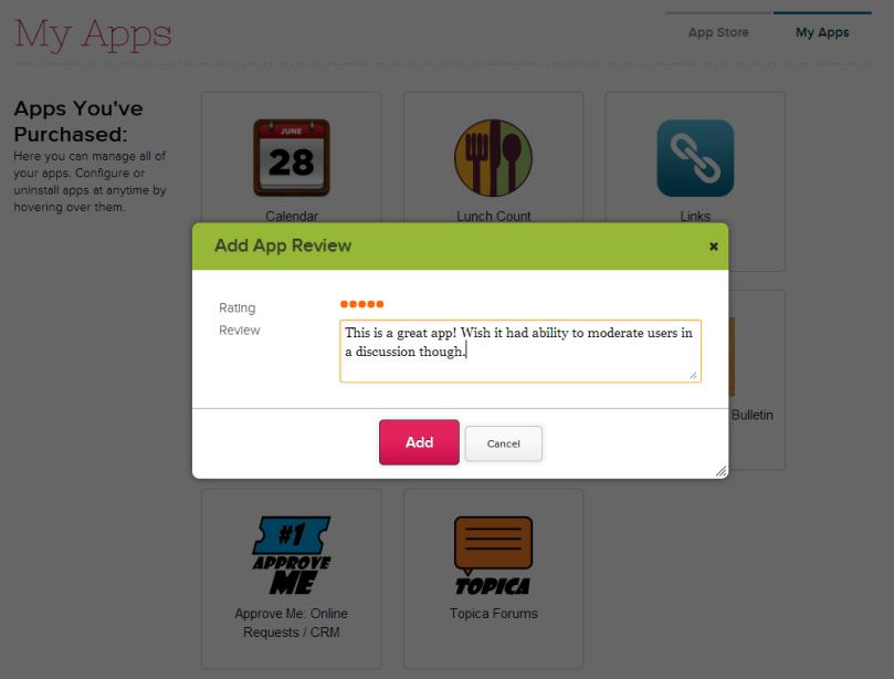 Rate a QuickSchools App