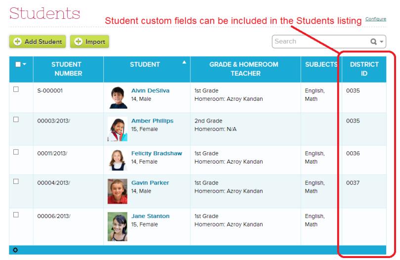 Display ONE Custom Field in Students listing