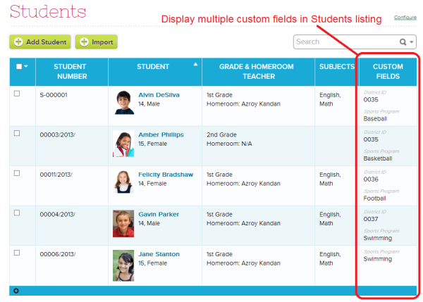 Display Multiple Custom Fields in Students listing