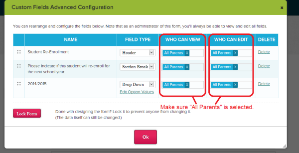 Configure Custom Re-Enrollment Fields