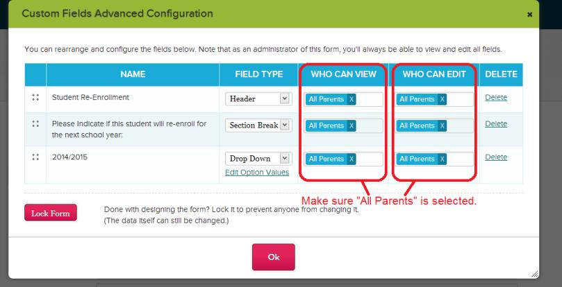 Configure Custom Re-Enrollment Fields