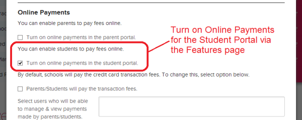 Turn on Online Payments for the QuickSchool Student Portal