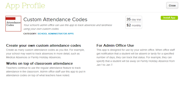 Custom Attendance Codes - QuickSchools App