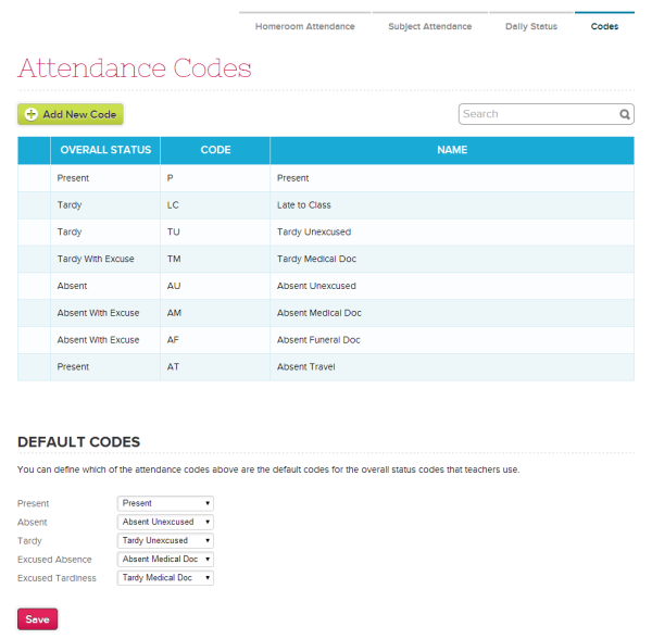 Manage Custom Attendance Codes and Defaults