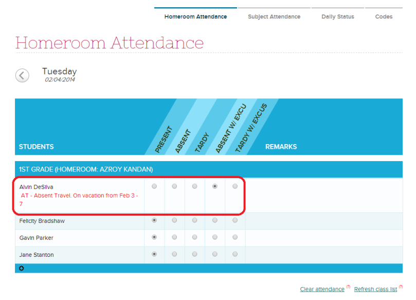 Allow Attendance Takers to view applied Attendance Codes in the Attendance Roster