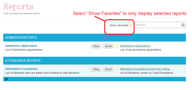 """Display selected reports by clicking """"Show Favorites"""""""