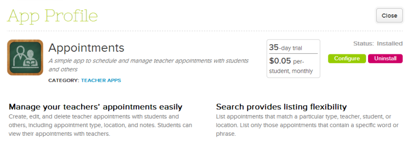 New Appointments App on QuickSchools