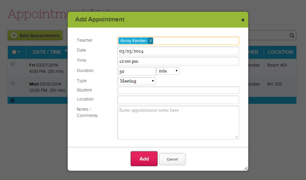 Add New Appointment