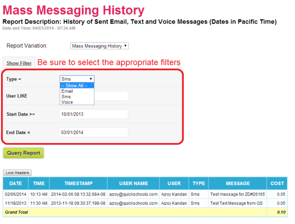 Sample Mass Messaging History Report