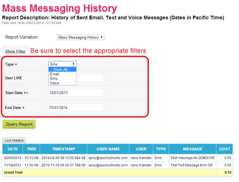 Sample Mass Messaging History Report