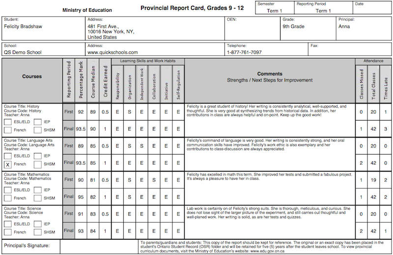 The Ontario Province Report Card Template School Management