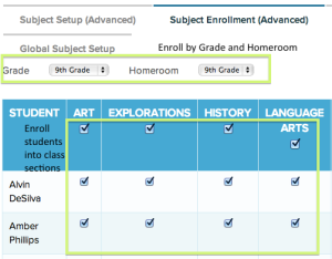 Advanced Subject enrollment enabled you to enroll students based on section name (subject abbreviation)