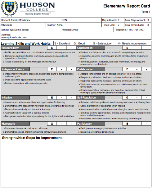 The hudson college report card template for Montessori report card template