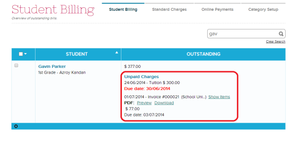 Student Billing / Unpaid Charges