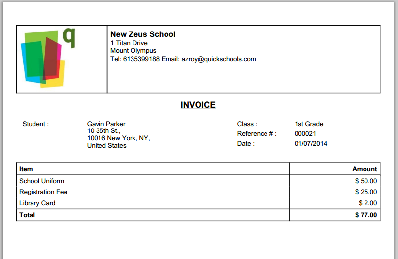 QuickSchools Printable Invoice