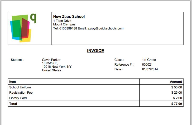 QuickSchools Printable Invoice  Printing Invoice