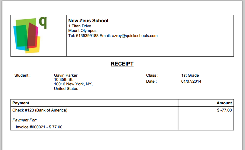 QuickSchools Printable Receipt