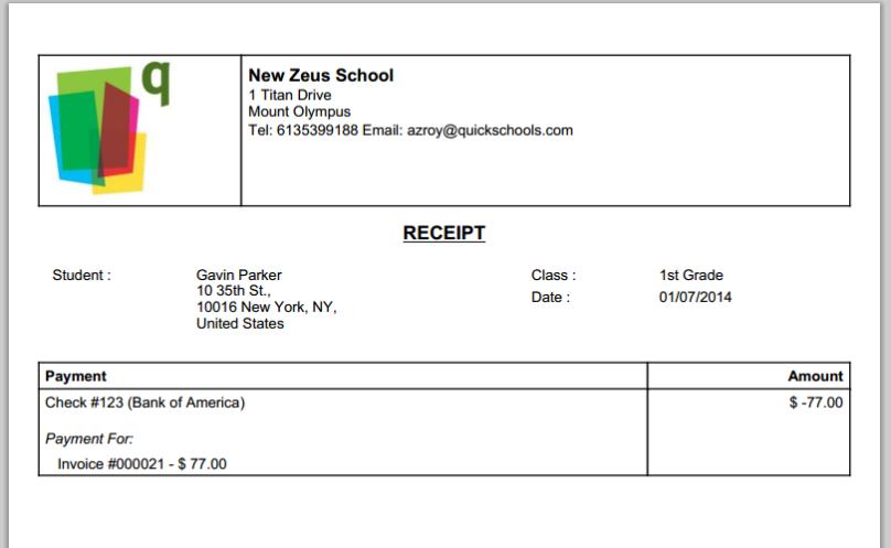 QuickSchools Printable Receipt