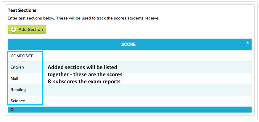 Add as many scores, subscores, and sections that the exam reports