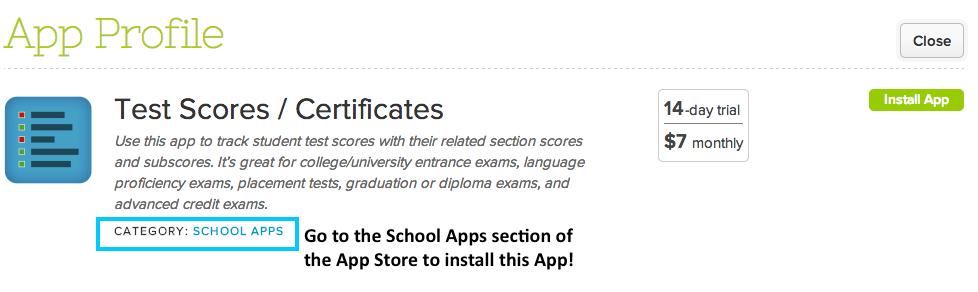 Test Scores App