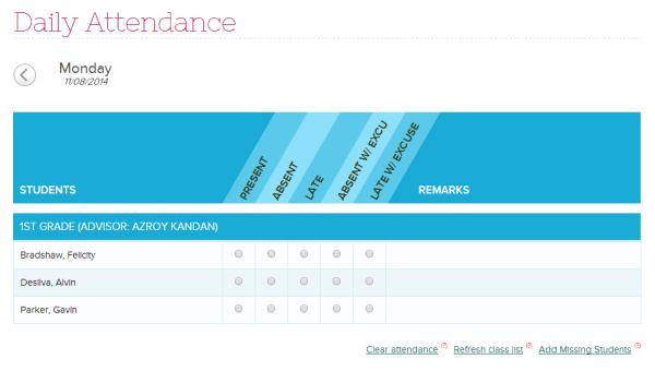 Attendance Defaults to Not Yet Taken