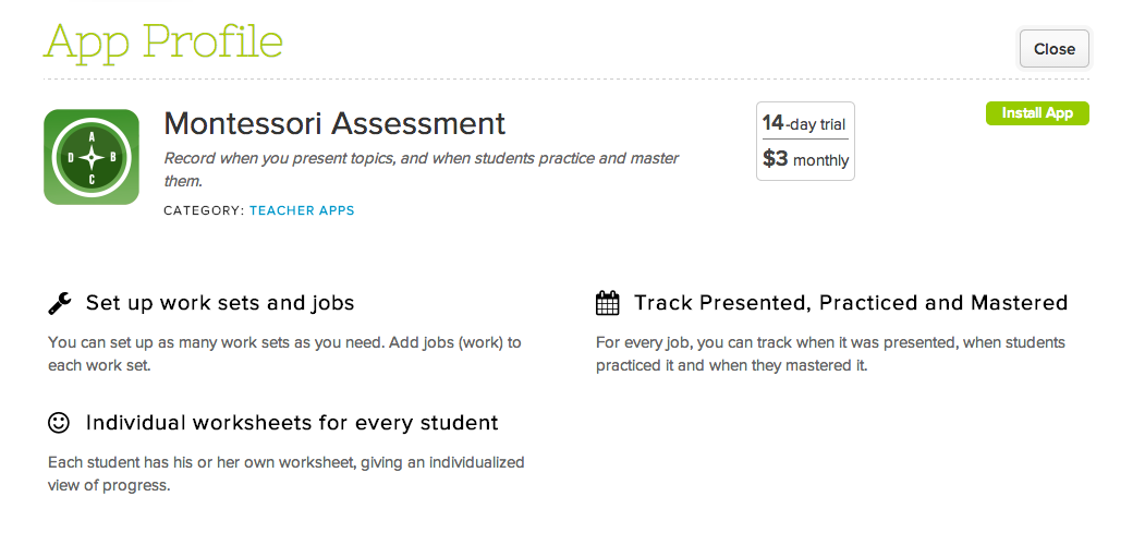 Montessori Assessment App