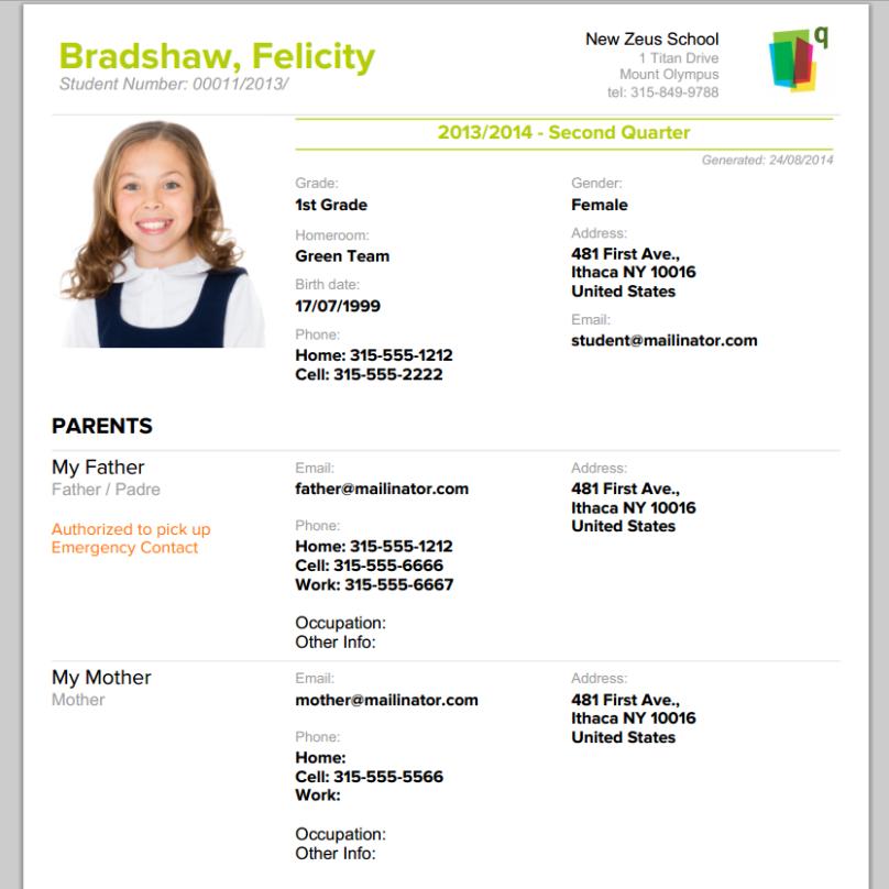 Student Profile in PDF