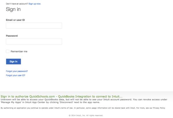 Logging into QuickBooks Online from QuickSchools