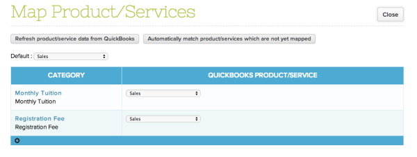 Mapping Categories in QuickSchools to QuickBooks Products and Services