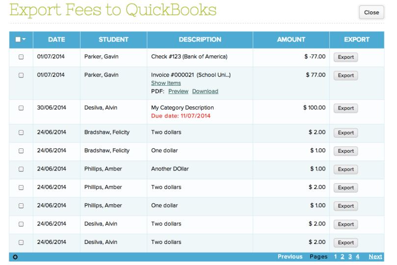 Exporting Transactions from QuickSchools to QuickBooks