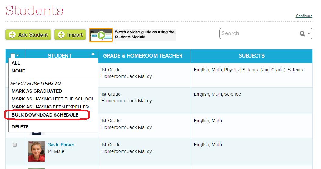 Bulk Download Schedules | School Management & Student Information ...